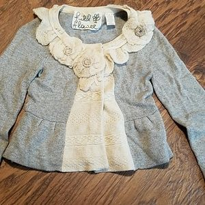 Anthro field in flower gray floral cardigan XS